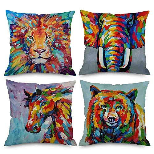 AlanRoye Set of 4 Throw Pillow Covers Oil Painting Elephant Lion Bear Horse Colorful 45 x 45cm Premium Velvet Decorative Cushion Cover Home Decor Hidden Zipper Closure Pillow Case Sofa Counch