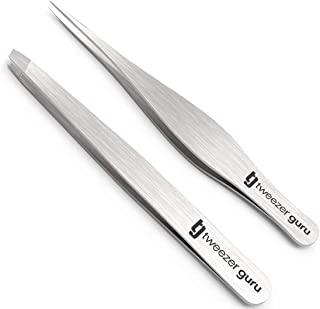 Tweezers Set - Tweezer Guru Stainless Steel Slant Tip and Pointed Eyebrow Tweezer Set - Flawless Precision for Facial Hair, Ingrown Hair, Eyebrows, Splinter, Blackhead and Tick Remover (Silver)