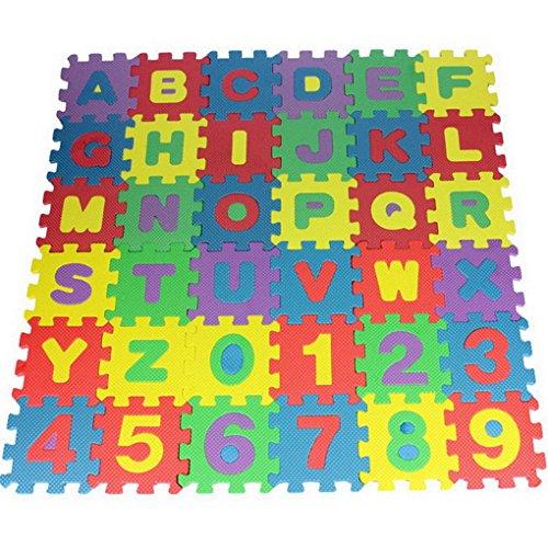 Premewish Puzzlematte Spielmatte Spielteppich Schaumstoffmatte Kinderspielteppich mit Zahlen und Buchstaben Kälteschutz abwaschbar bunt 36 teilig
