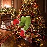 Christmas Tree Decorations Santa Claus Legs for Stuffed in Christmas Tree Santa Legs Stuck Christmas Tree Ornaments Plush Legs Decor (Green)