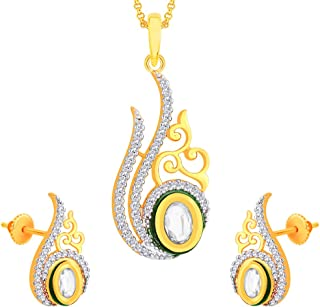 Viyari Tri-Color Indian Kundan Cubic Zirconia Pear Shaped Pendant Neckace Earrings Set