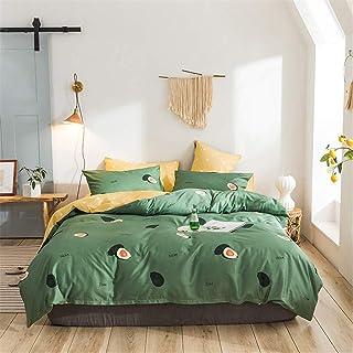 Ropa de cama for adolescentes for niñas Fruta Aguacate Colcha verde Aguacate Juego de cama verde Funda nórdica Queen Sábanas de hojas amarillas y verdes Fundas de almohada verde oscuro Colchas de cama