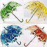 Bazaar Créatif coloré Parasol Feuilles Parapluie Transparent Champignon Arc Arbre Frais PVC Bulle Pluie engrenage