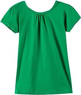 Noomelfish Girls Criss Cross Back T-Shirts Short Puff Sleeve Tee Tops (2-12 Years)
