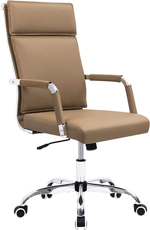 Homall Office Desk Chair Mid Back Computer Chair Leather Executive Adjustable Swivel Task Chair Conference Chair With Armrests Brown