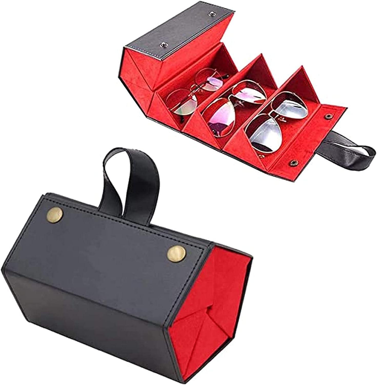 5 Slots Foldable Leather Sunglasses Eyeglasses Travel Organizer Case Container, Foldable PU Leather Case Container,Portable Eyewear Display Containers for Women Men