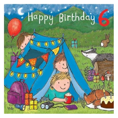 Twizler 6th Birthday Card For Boy With Cake Camping Presents And Glitter