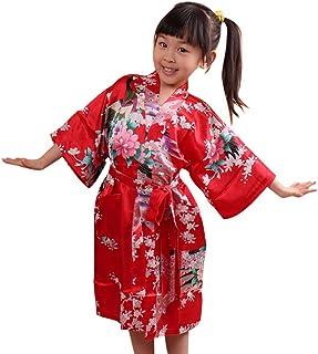 78d4622b3c0e3 Kimono Robe de Chambre Enfant Fille en soie Artifielle - Peignoir Imprimé  Longue pour Automne -
