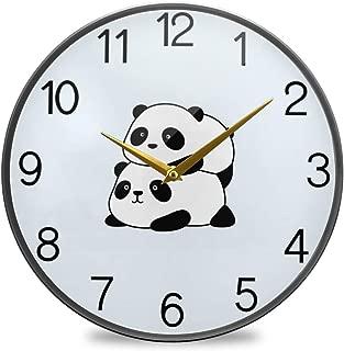 Chovy 掛け時計 サイレント 連続秒針 壁掛け時計 インテリア 置き時計 北欧 おしゃれ かわいい パンダ かわいい ブルー 可愛い おもしろ 部屋装飾 子供部屋 プレゼント