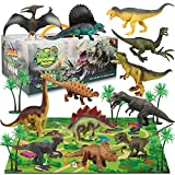 Dinosaur Figure Toys Set with 12Pcs Realistic Dinosaur Figures, 31.5 x 27.5 Inch Large Flannel Activity Play Mat & Trees, Indoor Outdoor Educational Playset Toys for 3,4,5,6 Years Old Kids Boys&Girls