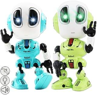 deAO Robots Interactivos Multifuncionales Modelo Die Cast Conjunto de 2 Robots con Habla, Repetición, Sensibilidad al Tacto, Articulaciones Móviles, LED y Modo de Voz Alienígena (2 Pack)