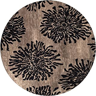 CC Home Furnishings 8' Bombay Chrysanthemum Espresso and Chocolate Brown Wool Area Throw Rug