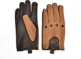 Men's Two-Tone Unlined Leather Driving Gloves in Tan and Brown