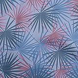 oneOone Flexión De Algodón Violeta Azulado Tela Hoja De Palma Tropical Tela De Costura Por El Medidor Impreso Suministros De Costura De Ropa De Bricolaje 40 Pulgada De Ancho