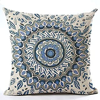 Andreannie European Colorful Retro Floral Compass Medallion Home Cotton Linen Throw Pillow Case Personalized Cushion Cover New Home Office Decorative Square 18 X 18 Inches (Navy Blue Color)