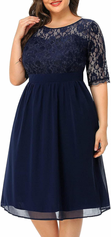 Women's Plus Size Lace 3/4 Sleeve Scoop Neckline Cocktail Short Wedding Guest Dress
