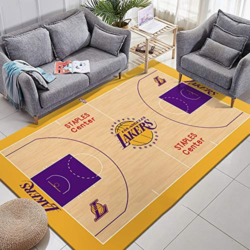 CXJC Polyester Short-Grundmatte, NBA Basketball Lakers Krieger Individuelle Logo Home Teppich, 170 * 100CM Rechteckige 0.6CM Thick Feuchtraummatte, Indoor-Yoga-Matten, Kinderzimmer Climbing Mat