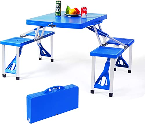 popular Giantex Folding Picnic Table with 4 Stools, Kid's Portable Camping Tables, Indoor and Outdoor popular Table with Umbrella Hole, Patio, Lawn Garden Table, Aluminum online Frame, Blue outlet online sale
