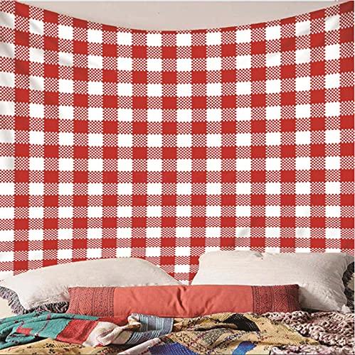 Weibing Tapiz de impresión en Color 3D Estilo Simple a Cuadros Rojos y Blancos patrón de diseño Personalizado decoración del hogar tapices Arte de Pared para Habitaciones 150(An) x150(H) cm