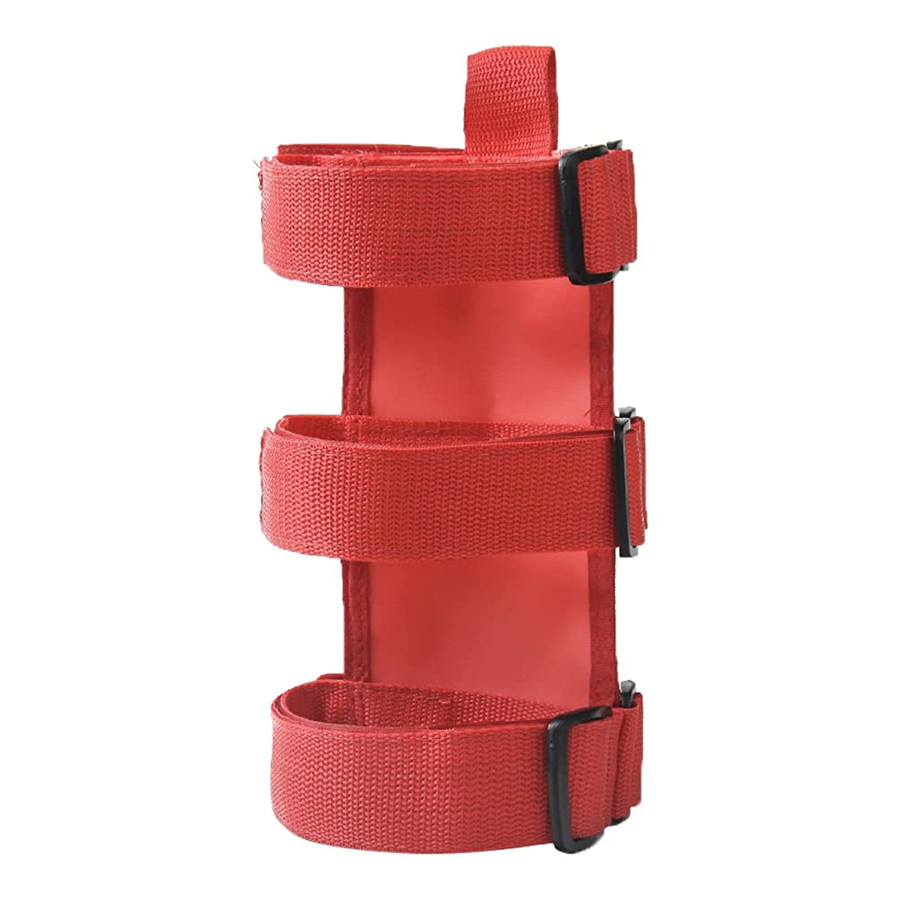 VXAR Fire Extinguisher Holder Adjustable Roll Bar Mounted for Jeep Wrangler(Red1)