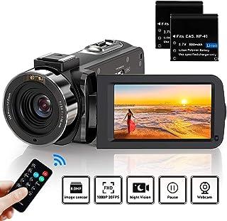 ビデオカメラ ACTITOP デジタルビデオカメラ HDビデオカメラ 3600万画素 HD1080P 16倍デジタルズーム 暗視機能 予備バッテリーあり リモコン付属 SDカード(最大64GB) 日本語システム