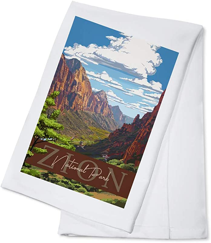 Zion National Park Zion Canyon View Typography 100 Cotton Kitchen Towel