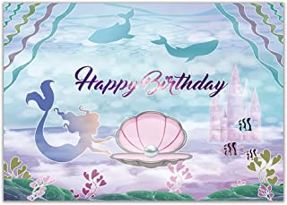 Allenjoy Little Mermaid Birthday Party Backdrop 7x5ft Under The Sea Castle Whale Pearl Girls Photography Background Princess Purple Cake Table Banner Photo Booth Props