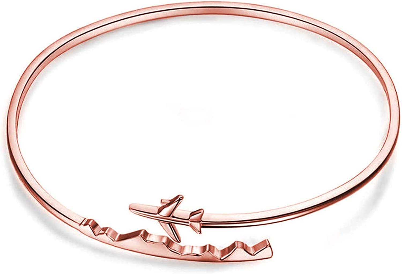 BAUNA World Travel Airplane Bracelet Pilot Gift Open Cuff Bangle Bracelet Aviation Jewelry Flight Attendant Gift