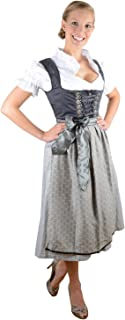 Bavarian Women's Midi Dirndl Dress 3-Pieces with Apron and Blouse Black Creme