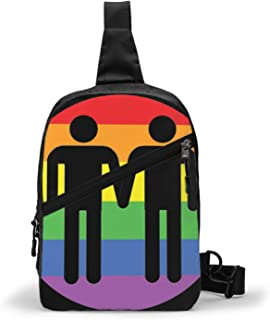 Gay Love Rainbow Bolso Bandolera De Hombre Bolso Cruzada Hombre Bolsa De Pecho Sling Bag Crossbody Para Al Aire Libre Camp...