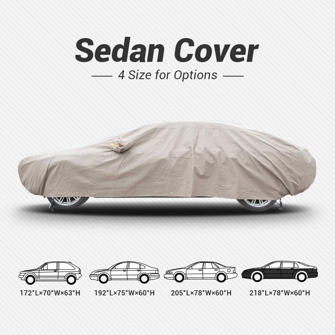 Shieldo Thick Shell Car Cover Waterproof Windproof Snowproof All Season Weather-Proof Fit 160-170 Length Hatchback