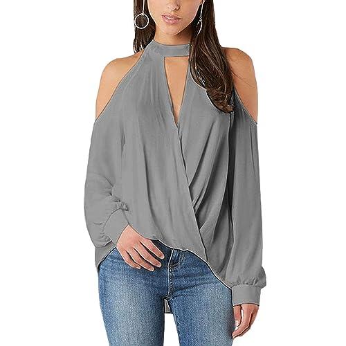 a616461f57 YOINS Women Blouse Crossed Front Design Cold Shoulder V-Neck Lantern Sleeves  Top
