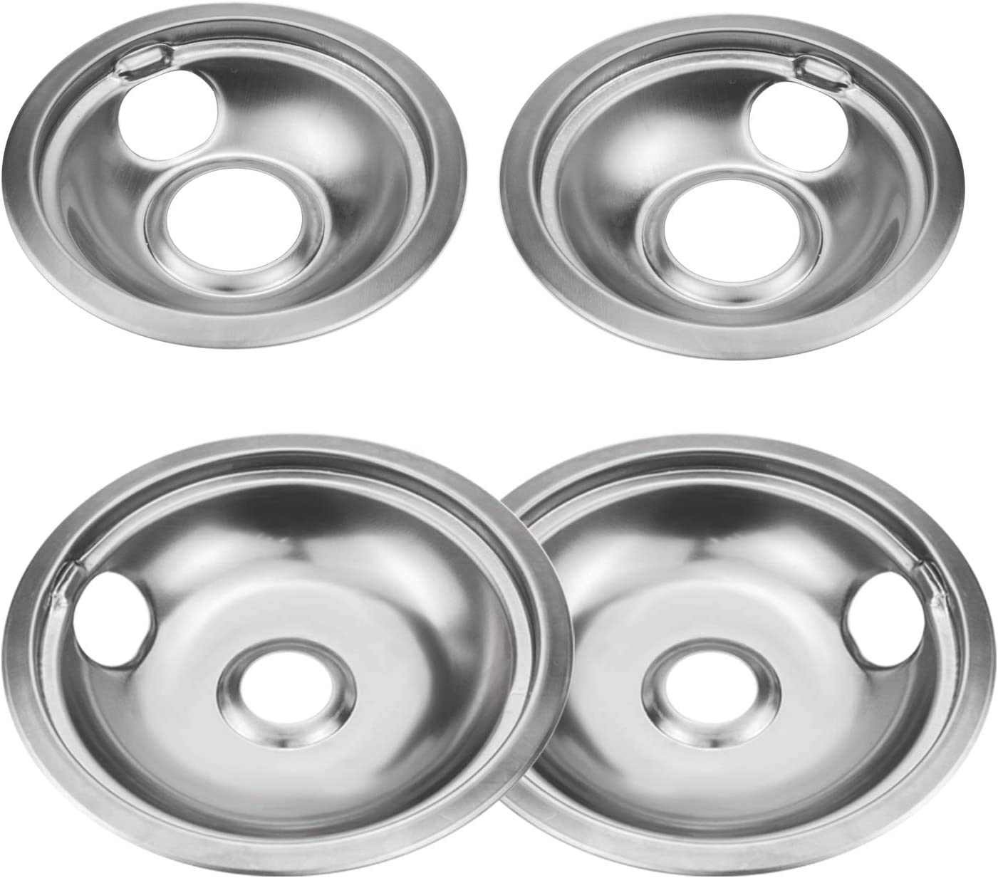 4 Pack Stainless Steel Over item handling ☆ Reflector Bowls Pan Drip Universal Excellent G Kits