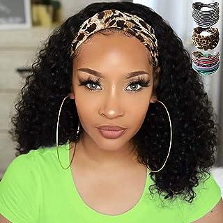 Sponsored Ad - Headband Wig Human Hair Curly Headband Wig Glueless None Lace Front Human Hair Wigs for Black Women (14 Inch)
