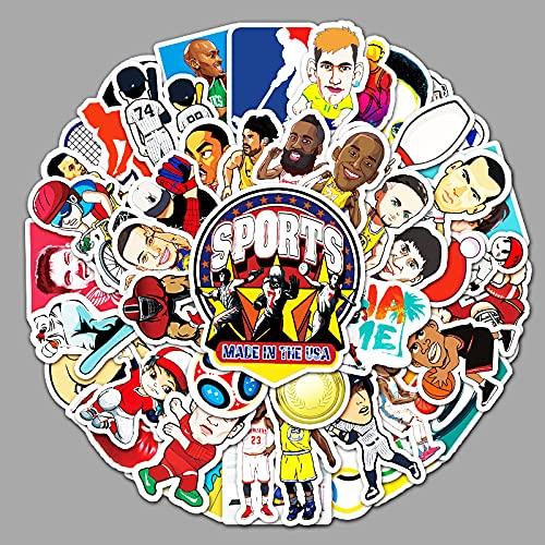 ZNMSB 50 Pegatinas de Dibujos Animados de Estrellas de Deportes de Baloncesto de fútbol Pegatinas de decoración de Nevera de Coche Maleta de Equipaje
