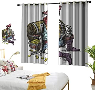 Sosoart red Curtains Pirate,Skeleton Pirate Holding Mug of Beer Treasure Chest Gold Freebooter Sailor Corsair,Multicolor 63
