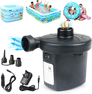 Idefair Electric Air Pump for Inflatables with 3 Nozzles,Protable Inflator/Deflator Quick Air Mattress Pump for Outdoor Camping,Inflatable Cushions, AirBeds, Boats, Swimming Ring,100-240V AC/12V DC