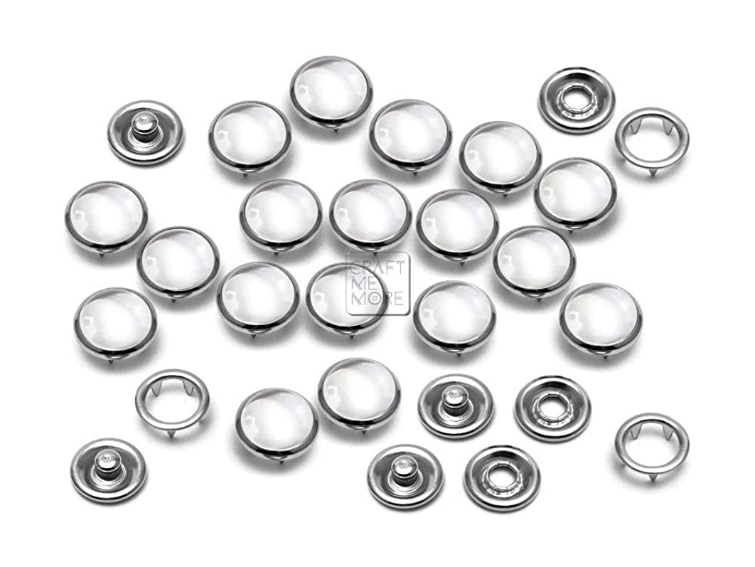 CRAFTMEmore 20 Sets 10.5MM Transparent Pearl Snaps Fasteners for Western Shirt Clothes Popper Studs (Transparent)