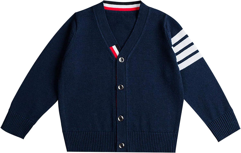 JanJean Kids Boys Girls Knitted Cardgidan Sweater Long Sleeve V Neck Cardigan School Knitwear Autumn Casual Outwear Coat