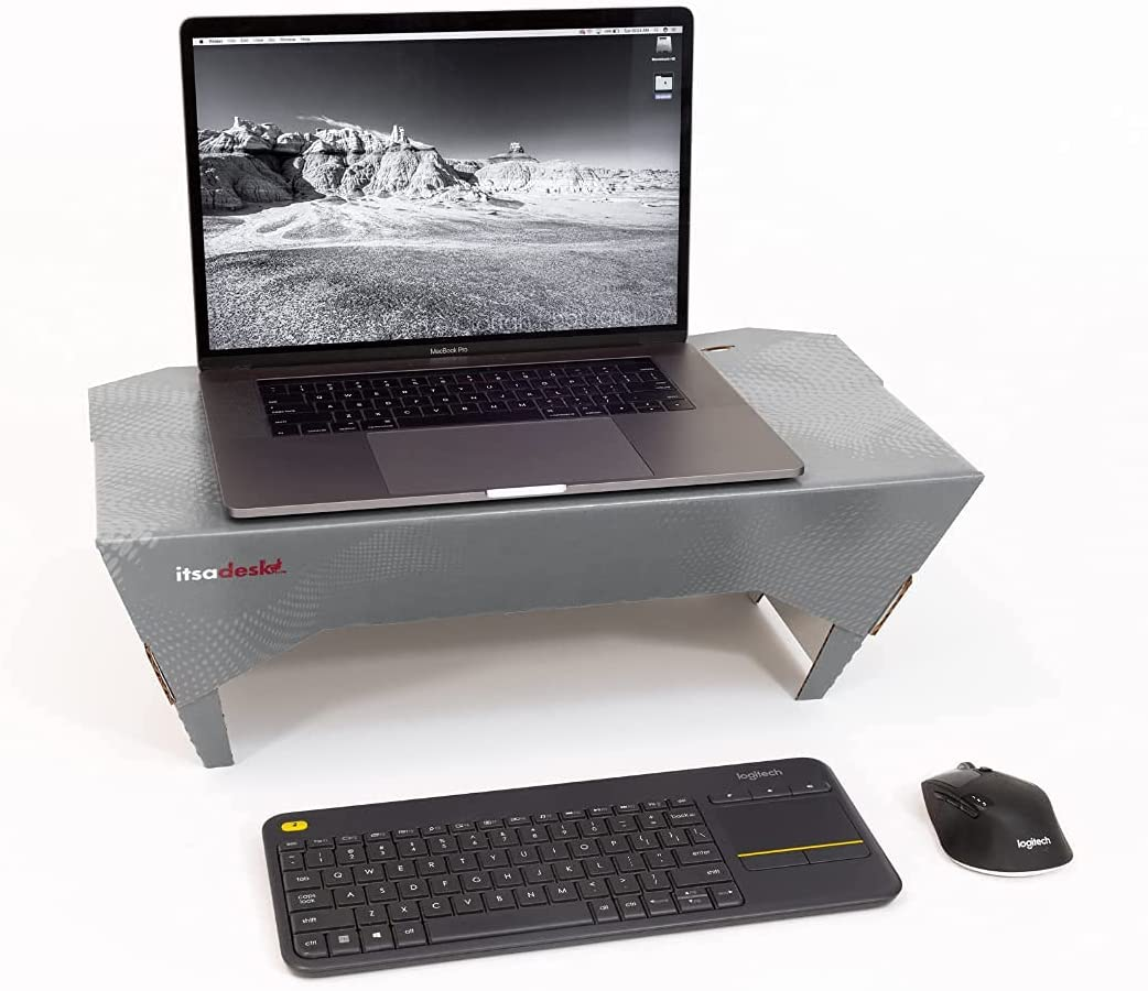 Itsa Desk CB1 Sit & Stand, Laptop Desk Riser, Super Stable Ergonomic Stand, Compatible with Laptops & Tablets up to 17