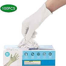 Nitrile Gloves,Disposable Gloves,100 Pcs Powder Free, Latex Free Disposable Exam Gloves (L, White)…