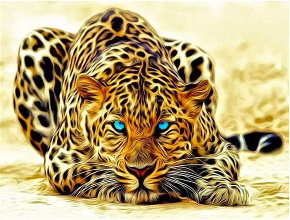 DIY 5D Diamond Painting Kit Blue New popularity and Eyed Kids Leopard Adults Selling rankings F