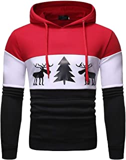neveraway Mens Pullover Casual Outdoor Christmas Day Hood Tracksuit Top