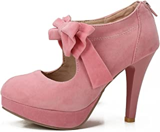 478be344211e27 fereshte Women s Girls  Platform High Heels Wedding Pumps Shoes with Bowknot