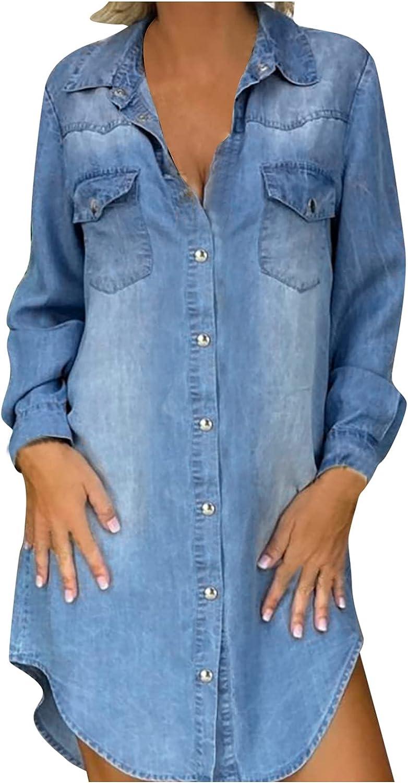 ManxiVoo Women's Denim Midi Dress Lapel Collar Button Down Pockets Curved Hem Short Dress Shirt Dress