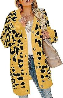 Shusuen Women's Long Sleeve Leopard Print Knit Cardigan Open Front Warm Sweater Button Down Outwear Coats with Pocket