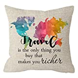 ITFRO Abstract Colorful World Map with Travel Sayings Travel is The Only Thing You Buy That Makes You Richer Beige Cotton Linen Throw Pillow Case Cushion Cover Square 18 Inches