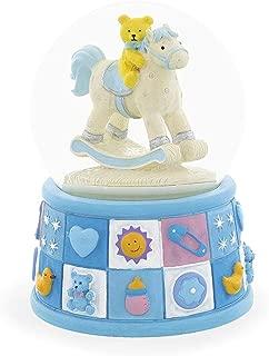 BestPysanky Teddy Bear on Rocking Horse Baby Boy Gift Musical Snow Globe
