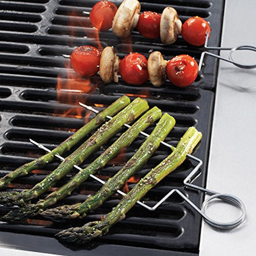 4pcs Raft Double Wide Skewers Small Bbq Barbecue Forks 8'' Grill Your Veggies The Easy Way, In Individual Servings To Wash