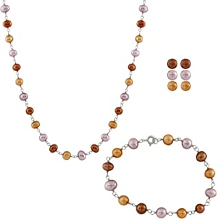 Handpicked AA Quality Multicolor 6.5-7mm Freshwater Cultured Pearl Necklace Bracelet and Earrings Set 925 Sterling Silver Clasp